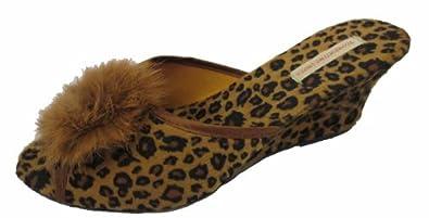 NEW Ladies SEXY Boudoir Wedge Mule Slippers Leopard Print (UK 3)