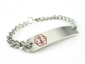 Pre Engraved - Warfarin Medical Alert ID Bracelet, Curb Chain