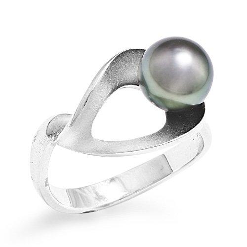 Tahitian Black Pearl Ring in Sterling Silver (8-9mm)