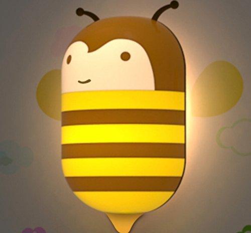 Pdxd Kids Small Night Light With Sensor Plug-In Wall Night Lamp (Honey Bee)