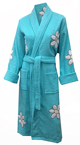 Daisy Appliqued Cotton Terry Cloth Bathrobe, Long, Turquoise, One Size front-776781