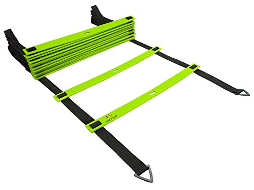 Wacces Speed Super Flat Adjustable Speed Agility Ladder for Soccer, Speed, Football, Fitness with Free Carry Bag ( 8 Rungs - Green )