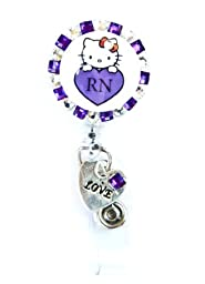 SIZZLE CITY New Custom Made Bling Rhinestone Hello Kitty ID Badge Pull Reel Retractable ID Badge Holders (Purple Hello Kitty RN with Love Charm)