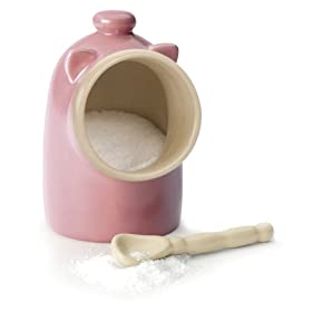 RSVP International Pig-Pnk Pink Salt Pig with Spoon 6-oz.