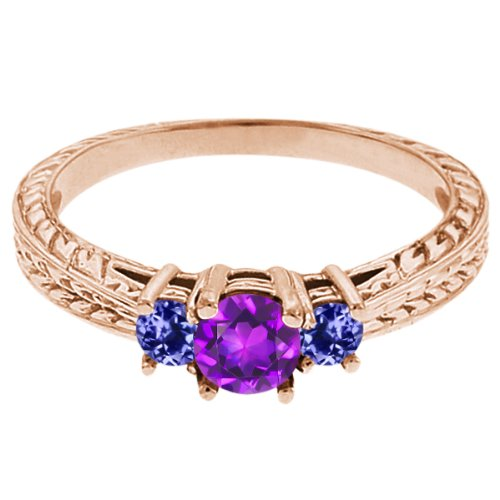 0.60 Ct Round Purple Amethyst Blue Tanzanite 14K Rose Gold 3-Stone Ring