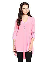 Pink Tunic With Roll Up Sleeve Large