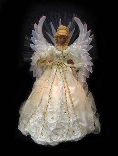 "19"" Lighted Cream and Gold Fiber Optic Angel Christmas Tree Topper"