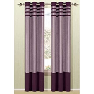 Beyonce Grommet Curtain Single Panel Color Lavender Plum Window Treatment Curtains