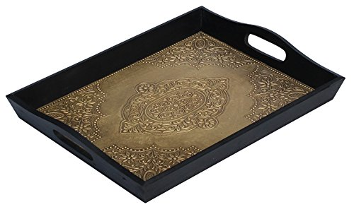 Antique Look Brass Decorated Wooden Handmade Service Tray With Handles for Bar, Tea, Coffee Lounge and Other Food Serving Needs 13.5