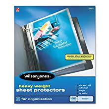 Wilson Jones Heavy Weight Top-Loading Sheet Protectors, Letter Size, Clear, 100 Sleeves per Box (W21411)