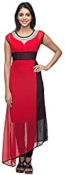 G&Z Collections Women's Georgette Straight Kurta (GZ025, Red, 40)