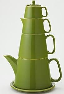 Classic Coffee & Tea Tower Tea Set, Olive Green