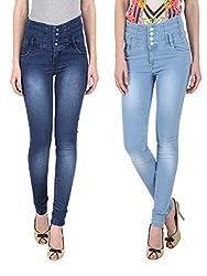 NGT Women's High Waist Royal Blue And Sky Blue Jeans