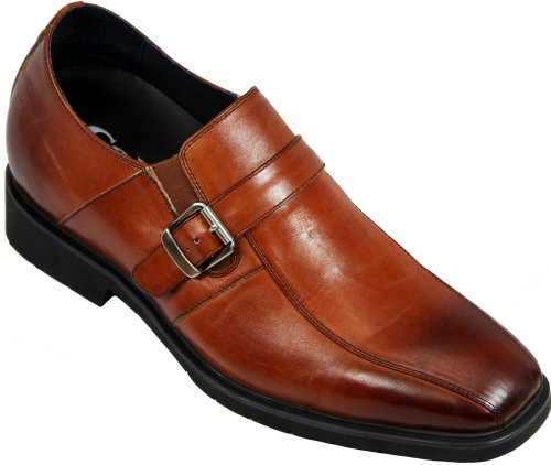 Calto - G5822 - 3 Inches Taller - Size 10 D Us - Height Increasing Elevator Shoes (Brown Leather Bicycle Style Slip-On Dress Shoes)
