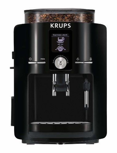 KRUPS EA8250001 Espresseria Full Automatic Espresso Machine with Built-in Stainless Steel Conical Burr Grinder, Black
