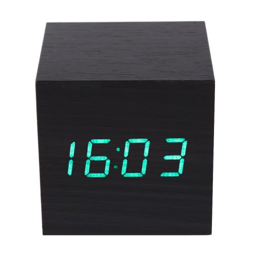Vakind® Fashion Mini Led Wooden Digital Clap-On Cube Alarm Clock (69135- Black And Green)