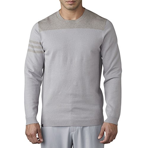 adidas Golf Men's Adi 3 Stripe Crewneck Sweater, Mid Grey, Small