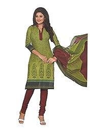 Divisha Fashions Green and Black Cotton Printed Churiddar Suit with Dupatta