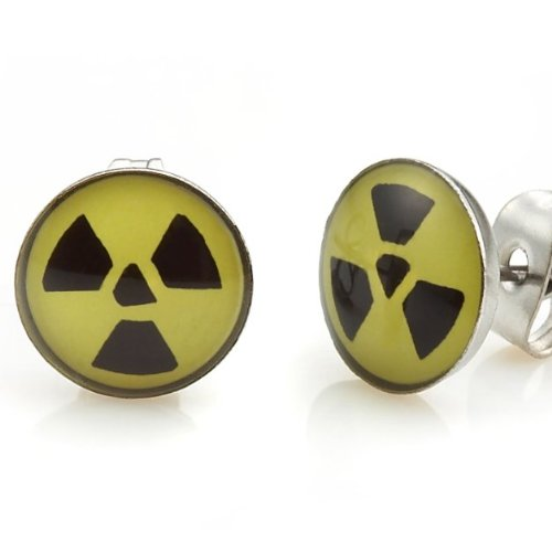 Trendy Stainless Steel Nuclear Symbol Stud Earrings for Men (Black Yellow)