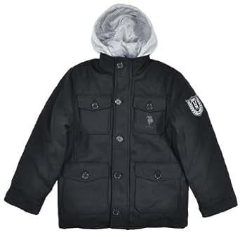 US Polo Assn Big Boys Black Wool Hooded Outerwear Jacket (10/12)