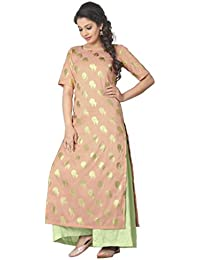 Ziyaa Nude Colour Boat Neck With Half Sleeve Faux Crepe Foil Print Kurti
