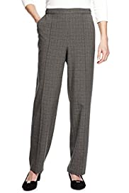 Classic Easy Care Quick Dry Non-Iron Pull On Checked Trousers [T58-7727-S]