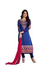 Ali Colours Designer Embroidered Ready To Stitch Dress Material For Women - B00VPVKIOQ