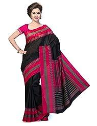 ISHIN Bhagalpuri Silk Black & Pink Printed Saree