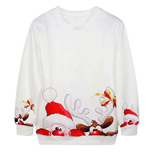 Voglee- Christmas Cute Print Pullover Sweater Jumper Outwear (santa and deer)