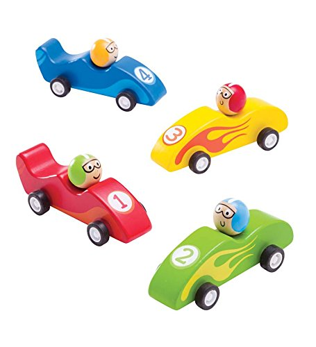Wooden Pull-Back Race Cars, Set Of 4
