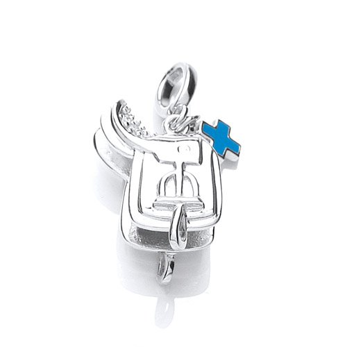 The Blue Cross Animal Charity Silver Saddle Charm with Cubic Zirconia and Blue Enamel Blue Cross Tag