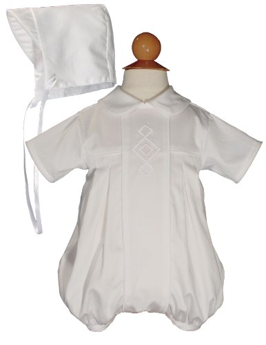 Cotton Embroidered Christening Baptism Romper - Size 6 Months