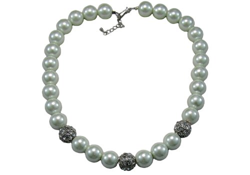 Glass Pearl Necklace White - 18