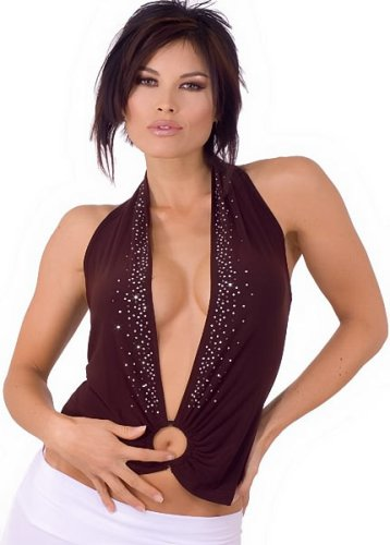 Buy Low Cut Plunging Studded Halter from Hot Fash Tops – MIRAGE Brown