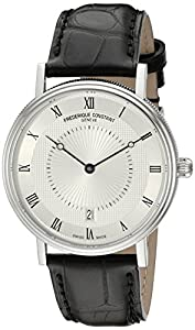 Frederique Constant Men's FC306MC4S36 Slim Line Stainless Steel Watch with Black Leather Band