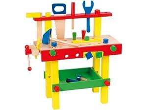 partner jouet hktkdt7018 jouet en bois jeu de construction etabli bois jeux. Black Bedroom Furniture Sets. Home Design Ideas