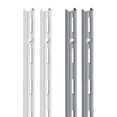 Wandschiene PRIMESLOT (2 Stück) | 1-reihig | weiß, silber | 4 Längen | für Regalsystem, Regalträger | 995 mm weiß