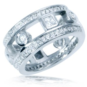 White CZ Gold Plated 925 Sterling Silver Eternity Ring Size 7