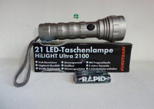 Idee+spiel 78527135 21 LED-Taschenlampe HiLIGHT Ultra 2100 mit 3 AAA 1,5 V Batterien