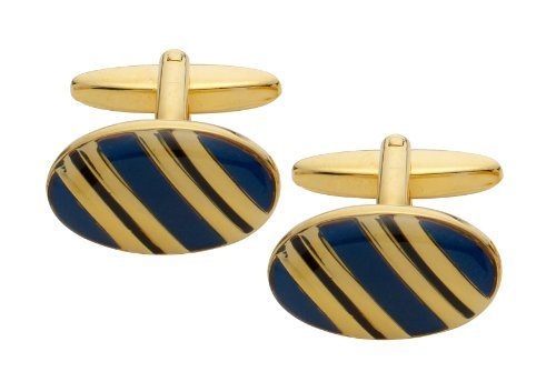 Code Red Gold Plated Cufflinks with Navy and Black Enamel Stipes