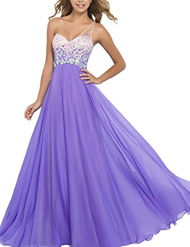 SeasonMall Women's Prom Dresses A Line One Shoulder Chiffon and Tulle Formal Dress