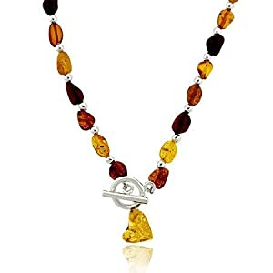 Sterling Silver .925 Genuine Honey Brown Amber Stone Chip Bead Toggle Necklace