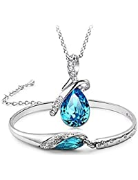 Youbella Crystal Combo Of Heart Pendant Necklace Set, Bangle Bracelet For Girls And Women ,Get Earring Free