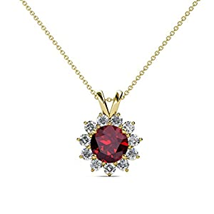 Ruby and Diamond Floral Halo Pendant 1.28 ct tw in 14K Yellow Gold with 18 Inches 14K Gold Chain