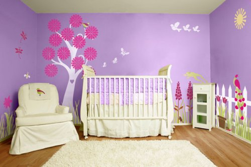Girls Wall Decor - Flower Garden Theme Wall Mural - Wall Stencils for Decorating a Girls Room