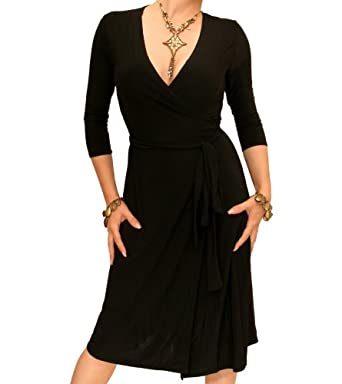Blue Banana Black Elegant Slinky Wrap Dress Size 8