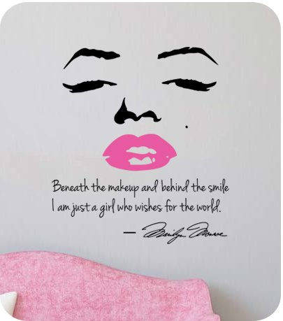 Marilyn monroe wall decal decor quote face pink lips large for Nice white wall decal quotes