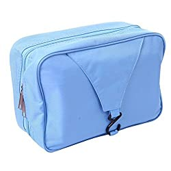 Happy Hours - Foldable Wash Bag Hanging Bathroom Travel Camping Hiking Toiletry With Hook Mens/Ladies Makeup Cosmetics Grooming Organizer Mesh Pocket Storage Waterproof , Blue