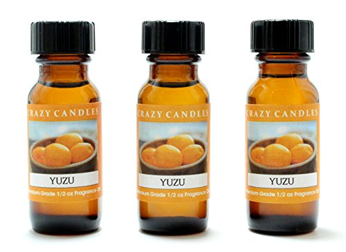 Yuzu (Japanese Grapefruit) 3 Bottles 1/2 FL Oz Each (15ml) Premium Grade Scented Fragrance Oil by Crazy Candles