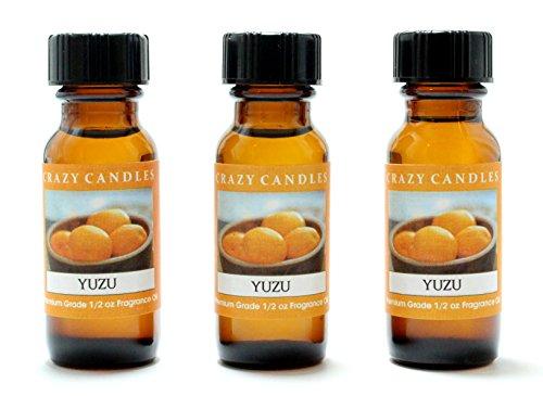 Yuzu (Japanese Grapefruit) 3 Bottles 1/2 FL Oz Each (15ml) Premium Grade Scented Fragrance Oil by Crazy Candles